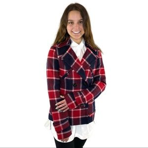 AEO Wool Plaid Pea Coat Navy and Red size… 2021